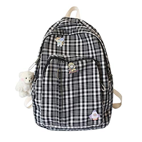 LZL Mochilas Bolsos de la Escuela de celosía -Simplicidad Casual Daypacks Jóvenes Estudiantes Coreanos Refrescante Versión Mochilas, Viajes, Escuela Mochila (Color : F)