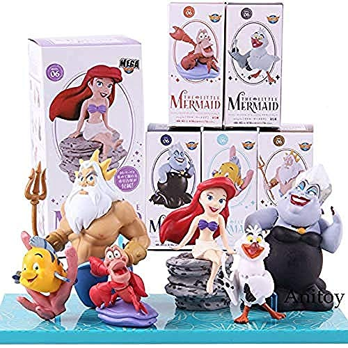 No Mega WCF World Collectabe Figure The Little Mermaid Characters Ursula Flounder Sebastian Figuras de acción Juguetes para niñas 6pcs / Set