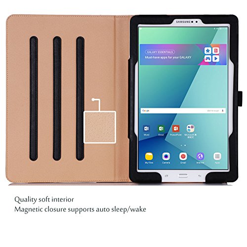 ProCase Hülle Kompatibel mit Galaxy Tab A 10.1 mit S Pen - Stand Folio Hülle Abdeckung für Galaxy Tab A 10.1 Zoll Tablet mit S Pen SM-P580, mit Mehreren Blickwinkel, Dokumentenkarte Tasche -Schwarz