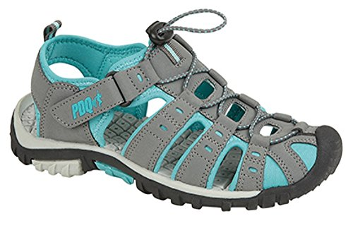 Ladies PDQ Toggle & Touch Fastening Sports Trail Sandals (9 UK, Grey/Jade)