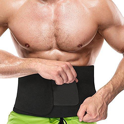 Keven Fitnessgürtel Bauchgürtel, Damen – Herren, Sweat Fitness Neopren Waist Trimmer Belt (117x23cm/Schwarz)