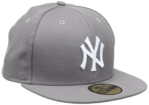 New Era Erwachsene Baseball Cap Mütze MLB Basic NY Yankees 59 Fifty Fitted, Grey, 7 1/8