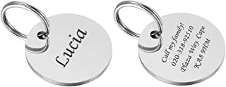 VALYRIA Polished Stainless Steel Pet ID Tags Personalized Round Tags - Front and Back Engraving,Silver