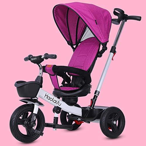 JHHXW Triciclo para niños, Cochecito de 3 Ruedas de bebé con toldo Caja de Almacenamiento de Putter, 1-6 años, niños, niñas, niñas, niños, Bicicleta, Caminante. (Color : Rose Red)
