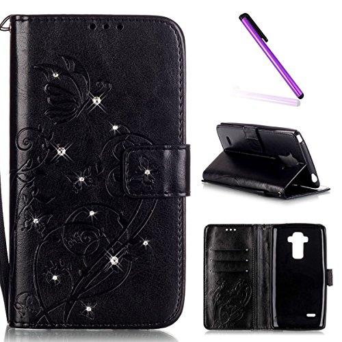 EMAXELERS LG G4 Stylus Hülle Bling Glitzer Diamant Schmetterling PU Leder Handy SchutzHülle für LG G Stylo,mit Standfunktion für LG G4 Stylus LS770,Black Butterfly with Diamond