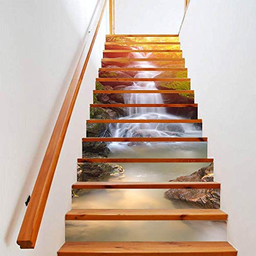 Treppe Aufkleber 3D Wasserfall Wald Abziehbilder für Treppen PVC Abnehmbare Sticker Selbstklebend Wandsticker Wandtattoo Wanddeko für Wohnzimmer Schlafzimmer Kinderzimmer, 18cmx100cmx13pcs