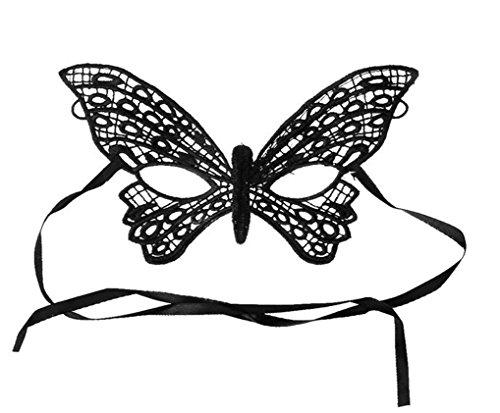 Máscara de Encaje de Negra para Mujeres en Misteriosa Mascarada para la Fiesta de la Mascarada, Bodas, Máscara Anónima del Carnaval Veneciano y Danza, Las Mascaras Venecianas del Estilo Murciélago
