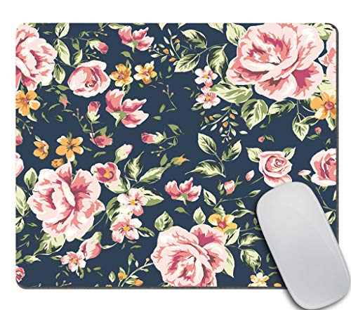 Amcove Vintage Flower Mousepad,Floral Mouse pad,Mousepad,Desk Accessory,Cute Mouse pad 9.5 X 7.9 Inch (240mmX200mmX3mm)