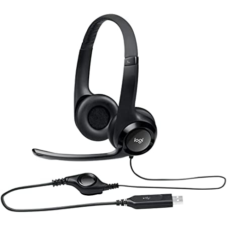 Logitech ClearChat Comfort USB Headset H390 with Mic - Black (Renewed)