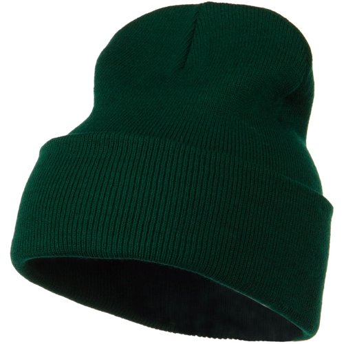 12 Inch Long Knitted Beanie - Dark Green OSFM