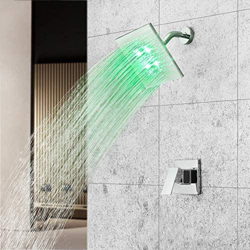 Dr Faucet LED Bathtub Shower System Rain Faucet with Single Lever Mixer Valve Wall Mounted Shower Set System, Polished Chrome Finished