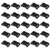 LIHAO 50 PCS 5/8' Black Plastic Side Release Buckle for Paracord Bracelets