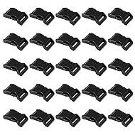 "LIHAO 50 PCS 5/8"" Black Plastic Side Release Buckle for Paracord Bracelets"