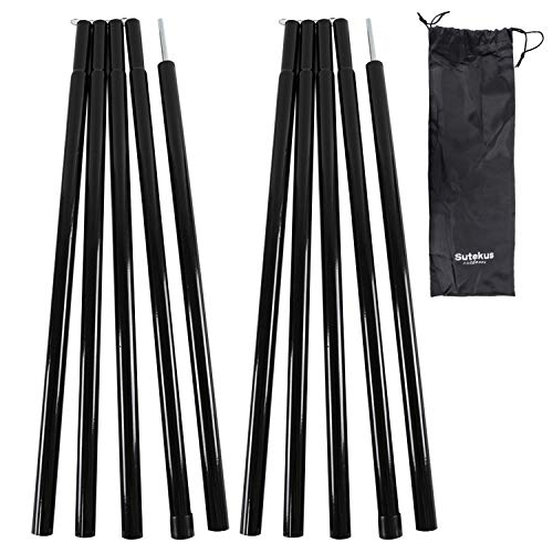 Sutekus Steel Rod Tent Pole Replacement Accessorie 2pc/Set Adjustable Bars (Black)
