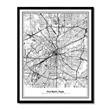 Susie Arts 11X14 Unframed Fort Worth Texas Metropolitan City View Abstract Street Map Art Print Poster Wall Decor V258