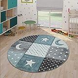 Paco Home Alfombra Infantil Pastel Cuadros Puntos Corazones Estrellas Blanco Gris Azul, tamaño:Ø 120 cm Redondo