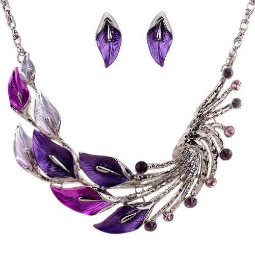 Yazilind ethnische Art tibetischen Silber Lila Pfau-Kristall Chunky Bib Kristall Ohrringe Halskette Set Hochzeit