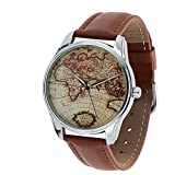 World Map Watch, Brown Map Wrist Watch, Travel Map Watch, Every...