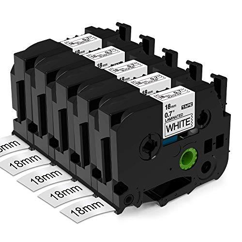 Aken kompatibel Schriftband als Ersatz für Brother Ptouch Tze 18mm Etikettenband TZe-241 TZe241 TZ-241 schwawrz auf weiß - Für Beschriftungsgerät P touch Cube 1830 D400 D600 P700 2430, 5er Packung