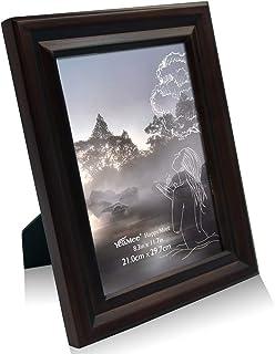 YeaMee A4 297×210mm フォトフレーム 木製 写真立て おしゃれ 額縁 ナチュラル古材 天然木 木枠 アンティークなウッドフレーム, 深ブラウン