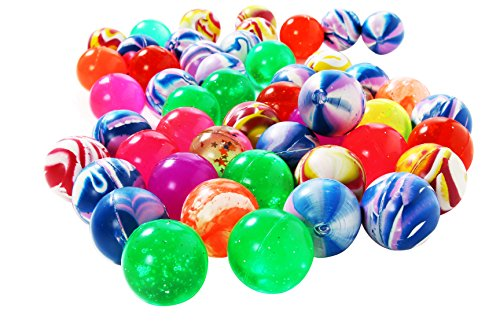 Juvale 50 Count Bouncy Balls Party Favors for Kids Goodie Bags – 1.5 Inch Rubber High Bouncing Toys Fillers for Birthdays in Assorted Colorful Designs