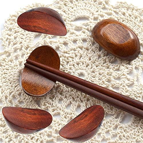 GSJDD 5 Piezas de reposapiés de Madera, japonés Creativo Hecho a Mano Palillos de Madera Reposo o Soporte de Cuchara de Cena, Palillos para el Cuidado de la Almohada