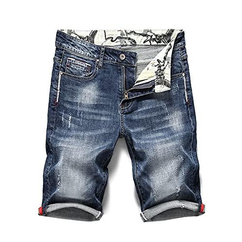 YUZHUKUNGMZNSDK Pantalones Cortos Hombre, Pantalones Vaqueros Cortos del Estiramiento de los Hombres Ripped Fashion Casual Slim Fit Denim Elástico Shorts Macho Angustiado