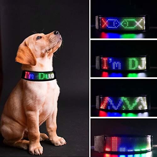 RICOVO Programmierbares LED-Hundehalsband für nächtliche Spaziergänge, Wandern, personalisierte Scrolling-Nachrichten, App-gesteuertes Leuchthalsband
