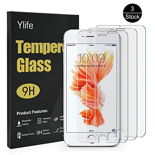 Ylife Panzerglas Schutzfolie Kompatibel iPhone 6 Plus iPhone 6s Plus, (3 Stück) 9H Härte Transparent Displayschutzfolie, 5.5 Zoll HD Panzerglasfolie, Anti-Bubble, Anti-Fingerabdruck, Anti-Kratz