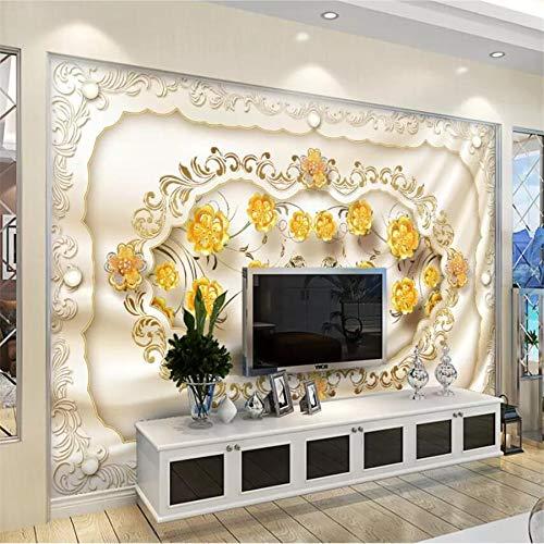Apoart Papel Pintado Foto Mural Joyería Oro Rosa Seda Tv Sofá Fondo Pared Pintura Salón Mural350Cmx245Cm