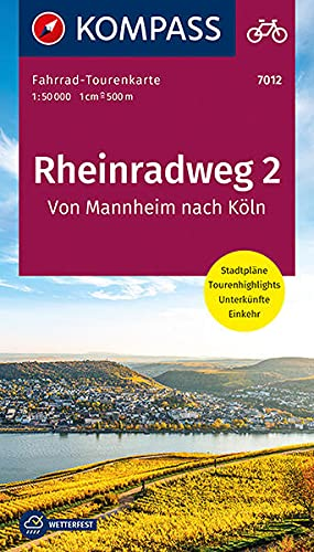 Fahrrad-Tourenkarte Rheinradweg 2, Von Mannheim nach Köln: Fahrrad-Tourenkarte. GPS-genau. 1:50000. (KOMPASS-Fahrrad-Tourenkarten)