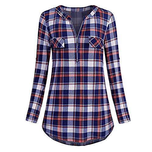 iHENGH Damen Frühling Sommer Top Bluse Bequem Lässig Mode Frauen Womens Casual Rolled Sleeve Reißverschluss mit V Ausschnitt Plaid Printed Shirt Tunika Tops Bluse(Lila, XL)