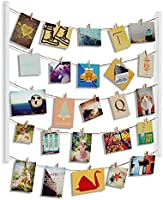 Umbra Hangit Photo Display - DIY Picture Frames Collage Set Includes Picture Hanging Wire Twine Cords, Natural Wood Wall...