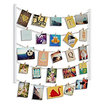 Umbra Hangit Photo Display - DIY Picture Frames Collage Set Includes Picture Hanging Wire Twine Cords Natural Wood Wall Mounts and Clothespin Clips for Hanging Photos Prints and Artwork  White
