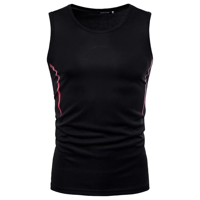 [eleitchtee] ノースリーブ メンズ スリーブレス タンクトップ ストレッチ インナー 男性用 スポーツシャツ 028-nl-f196(M ブラック)