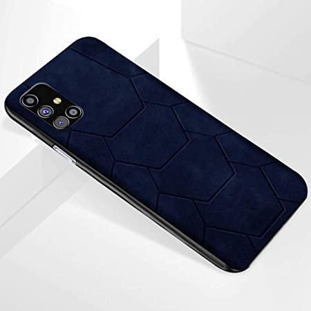 thegiftkart spider series back cover case cover for samsung galaxy m31s   shockproof   premium spider design   leather finish (blue)