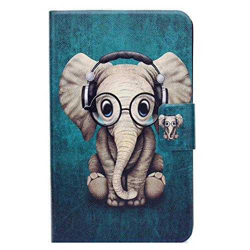 Huawei MediaPad T1 10 T1-A21W Hülle - Bspring Ultra Slim Lederhülle Tablet Flip mit Ständer Case Cover Bumper Schutzhülle für Huawei MediaPad T1 10 T1-A21W 9.6 Zoll - Elefant Muster