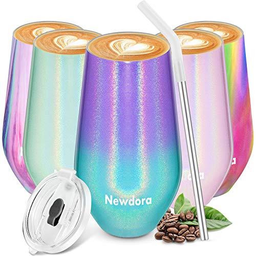 Newdora Thermobecher Kaffeebecher to go, Edelstahl Isolierender Kaffeetasse BPA-Frei, Isolierbecher mit Trinkhalm und Deckel, Kaffeebecher für Kaffee,Wein und Cocktails