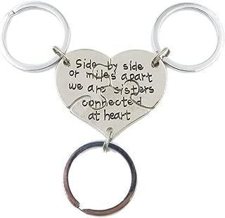 Charm.L Grace 3 Piece of Sisters Necklaces Keychain Set Heart Shape Puzzle Pendant