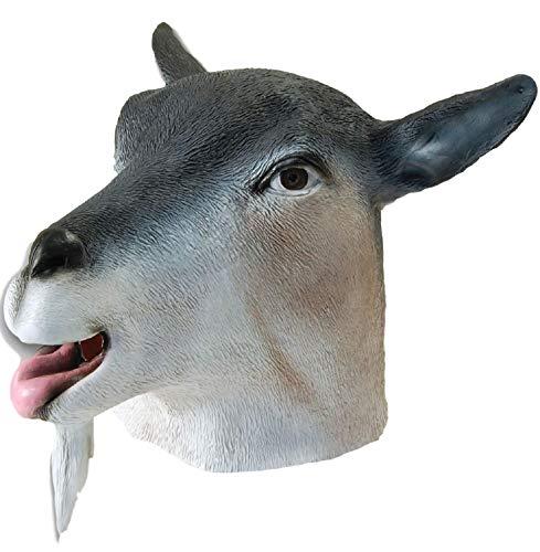 Fancy Me Erwachsene Damen Herren Gummi das Gesicht Bedeckend Maske Tier Halloween Kostüm Kleid Outfit Zubehör - Ziege