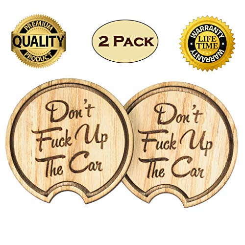 Navady Wood Funny Car Coaster (2.87 Inches Diameter), Father's Day Gifts, Dad Christmas Gift, Large Car Cup Holder Coasters, Keep Your Car Cup Holder Clean and Dry, Funny Car Accessories (Funny Quote)