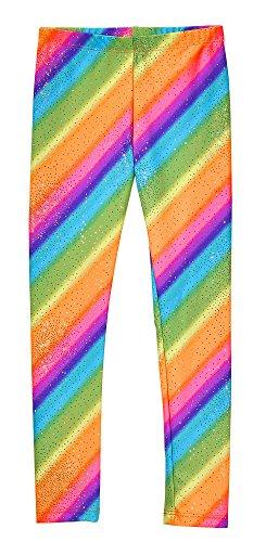 City Threads Girls Leggings Metallic Mermaid Print Shiny Colorful Fun Ankle Length for Style Fashion Parties Pop of Color, Rainbow Sparkle, 6