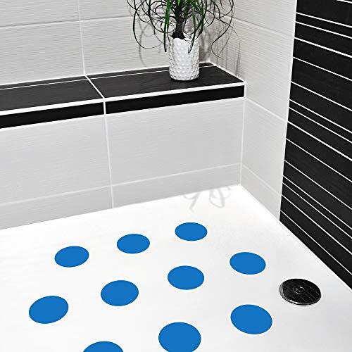10 STK. Anti-Rutsch Sticker für Duschen & Badewannen, farbig, Rutschklasse C DIN 51097, selbstklebend (blau)