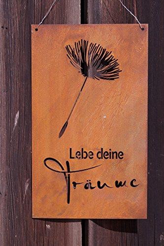 Edelrost Tafel Pusteblume mit Spruch 37 x 22 cm -Lebe Deine Träume- Gedichttafel
