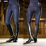 HKM - Pantaloni da Equitazione Hickstead Jeggings, in Silicone, 6100, Unisex - Adulto, Pantaloni, 4057052297427, 6100 Blu Jeans, 152