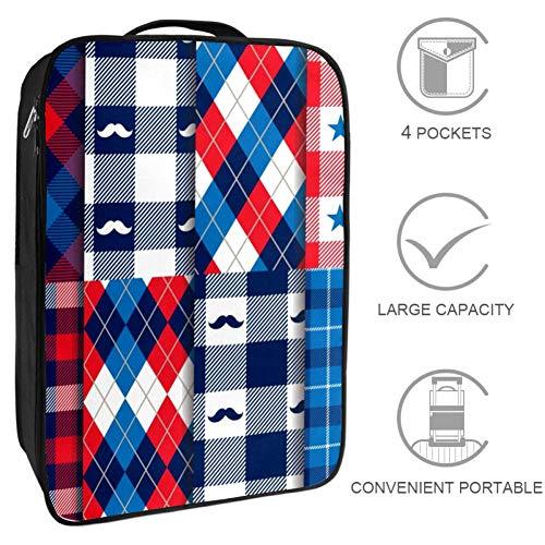 Bennigiry American Hipster Schnurrbart Tartan Plaid Reise-Schuhtasche tragbare Aufbewahrung Organizer Golf Weekender Schuhe Taschen für Damen und Herren