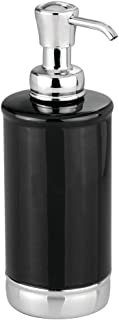 mDesign Modern Ceramic Refillable Liquid Soap Dispenser Pump Bottle for Bathroom Vanity Countertop, Kitchen Sink - Holds Hand Soap, Dish Soap, Hand Sanitizer, Essential Oils - Black/Chrome