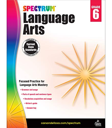 Spectrum Grade 6 Language Arts Workbook—6th Grade State Standards, ELA Writing and Grammar Practice With Writer's Guide and Answer Key for Homeschool or Classroom (184 pgs)