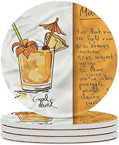 Tiki Bar Keramik Untersetzer Mai Tai Cocktail Rezept Untersetzer für Wohnzimmer Küche oder Büro