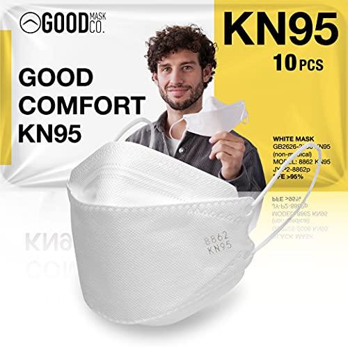 The Good Mask Co. Good Comfort KN95 Face Mask, Disposable KN95 Face Mask, Folding, Comfortable Face Masks, Bulk Face Masks (10 Pack of Masks, White)